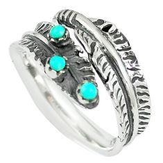 Natural green kingman turquoise 925 silver adjustable ring size 8 c10392