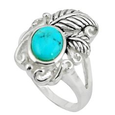 2.68cts natural green kingman turquoise 925 silver solitaire ring size 7 c10650