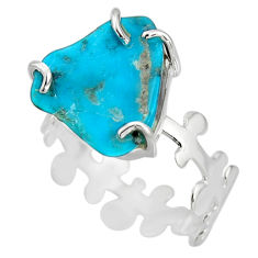 6.39cts natural green kingman turquoise 925 silver solitaire ring size 8 r20729