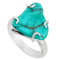 7.89cts natural green kingman turquoise 925 silver solitaire ring size 8 r20736