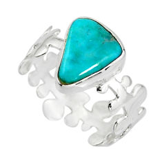 4.28cts natural green kingman turquoise 925 silver solitaire ring size 8 r20739
