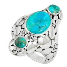 4.91cts natural green kingman turquoise 925 sterling silver ring size 5.5 c10661