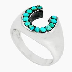 Natural green kingman turquoise 925 sterling silver ring size 6 c11484