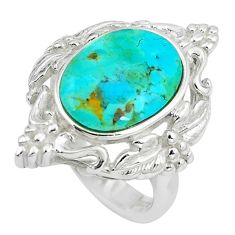 5.62cts natural green kingman turquoise silver solitaire ring size 5.5 c10632