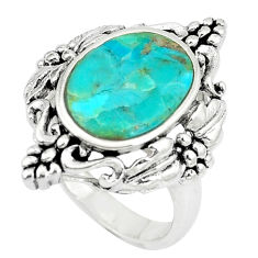 5.08cts natural green kingman turquoise silver solitaire ring size 8.5 c10636