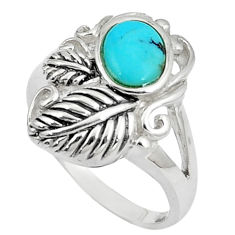 2.75cts natural green kingman turquoise silver solitaire ring size 8.5 c10643