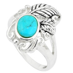 2.81cts natural green kingman turquoise silver solitaire ring size 8.5 c10653