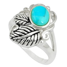 2.76cts natural green kingman turquoise silver solitaire ring size 8.5 c10657