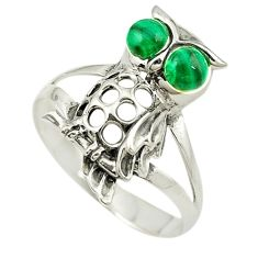 Natural green malachite (pilot's stone) 925 silver owl ring size 8.5 c21675
