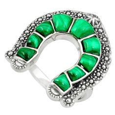 5.08cts natural green malachite (pilot's stone) 925 silver ring size 7.5 c11027