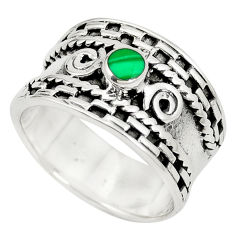 6.87gms natural green malachite (pilot's stone) 925 silver ring size 7.5 c12001