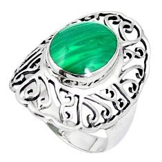 Natural green malachite (pilot's stone) 925 silver ring size 6.5 c12029