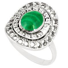 Natural green malachite (pilot's stone) 925 silver ring size 8.5 c12279