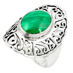 Natural green malachite (pilot's stone) 925 silver ring size 6.5 c12321