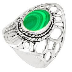 6.26gms natural green malachite (pilot's stone) 925 silver ring size 7.5 c12337