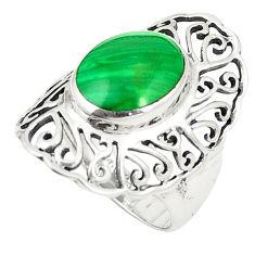 Natural green malachite (pilot's stone) 925 silver ring size 5.5 c12786