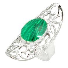 Natural green malachite (pilot's stone) 925 silver ring size 8.5 c22323