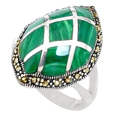 6.03cts natural green malachite (pilot's stone) 925 silver ring size 5.5 c26090