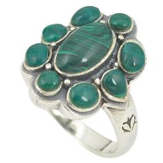 Natural green malachite (pilot's stone) 925 silver ring jewelry size 7.5 c12377