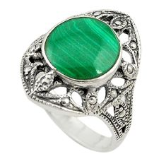 Natural green malachite (pilot's stone) 925 silver ring jewelry size 7.5 c22328