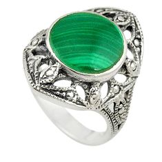 Natural green malachite (pilot's stone) 925 silver ring jewelry size 5.5 c22335