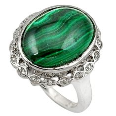 Natural green malachite (pilot's stone) 925 silver ring jewelry size 6.5 c23700