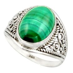 6.33cts natural green malachite (pilot's stone) 925 silver ring size 8.5 r42793