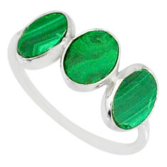 6.94cts natural green malachite (pilot's stone) 925 silver ring size 7.5 r88002