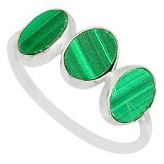 7.51cts natural green malachite (pilot's stone) 925 silver ring size 8.5 r88004