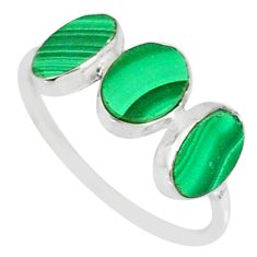 6.94cts natural green malachite (pilot's stone) 925 silver ring size 7.5 r88006