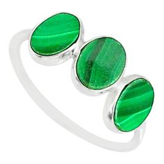 6.94cts natural green malachite (pilot's stone) 925 silver ring size 8.5 r88009