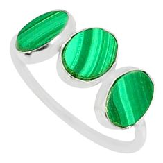 7.46cts natural green malachite (pilot's stone) 925 silver ring size 7.5 r88011