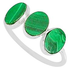 7.46cts natural green malachite (pilot's stone) 925 silver ring size 8.5 r88012