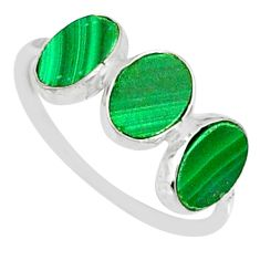6.84cts natural green malachite (pilot's stone) 925 silver ring size 6.5 r88013