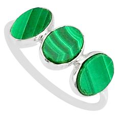 6.45cts natural green malachite (pilot's stone) 925 silver ring size 7.5 r88015