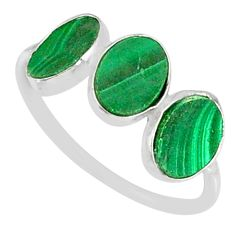 6.99cts natural green malachite (pilot's stone) 925 silver ring size 7.5 r88016