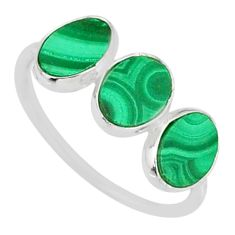 6.94cts natural green malachite (pilot's stone) 925 silver ring size 7.5 r88018