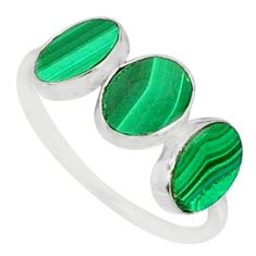 6.94cts natural green malachite (pilot's stone) 925 silver ring size 7.5 r88019