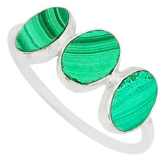 6.45cts natural green malachite (pilot's stone) 925 silver ring size 8.5 r88058