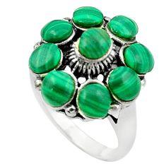Natural green malachite (pilot's stone) 925 silver ring size 6 c12380