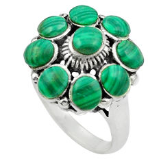 Natural green malachite (pilot's stone) 925 silver ring size 7 c12361