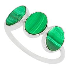 6.99cts natural green malachite (pilot's stone) 925 silver ring size 7 r88001