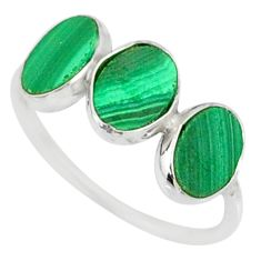 6.84cts natural green malachite (pilot's stone) 925 silver ring size 7 r88005