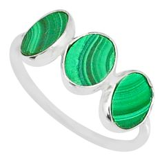 5.88cts natural green malachite (pilot's stone) 925 silver ring size 7 r88010