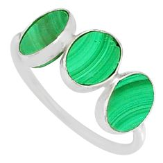 6.94cts natural green malachite (pilot's stone) 925 silver ring size 7 r88014