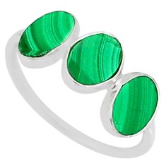 6.42cts natural green malachite (pilot's stone) 925 silver ring size 7 r88017