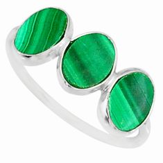 6.73cts natural green malachite (pilot's stone) 925 silver ring size 7 r88020