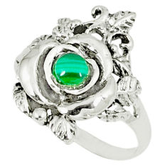 0.46cts natural green malachite (pilot's stone) 925 silver ring size 8 c11869