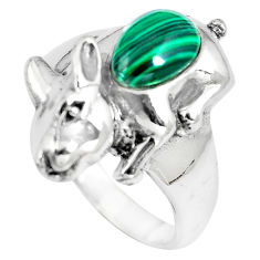 2.17cts natural green malachite (pilot's stone) 925 silver ring size 8 c12222