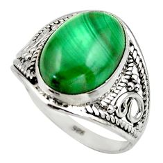 5.96cts natural green malachite (pilot's stone) 925 silver ring size 8 r44984